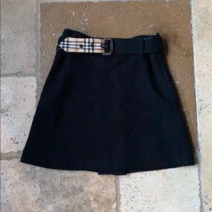 Burberry Girls Size 8 Black Wool Skirt